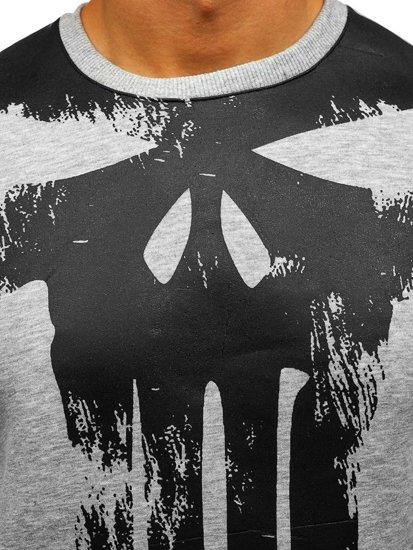 Bluza męska bez kaptura z nadrukiem szara Denley 0777