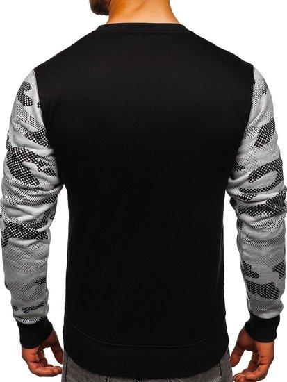 Bluza męska bez kaptura z nadrukiem szara Denley DD157