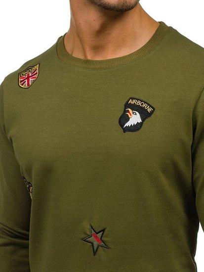 Bluza męska bez kaptura z nadrukiem zielona Denley 0739