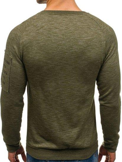 Bluza męska bez kaptura z nadrukiem zielona Denley 1723