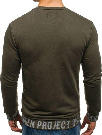 Bluza męska bez kaptura z nadrukiem zielona Denley M12