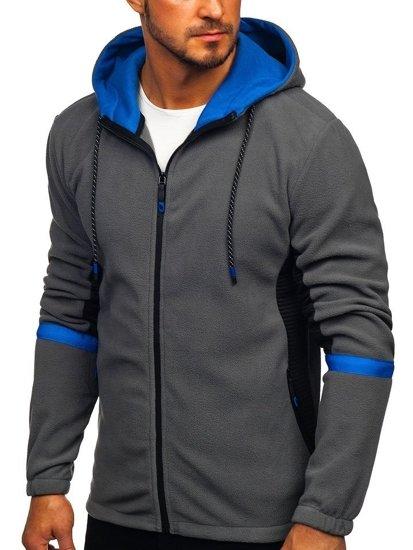 Bluza męska polar z kapturem grafitowa Denley YL007