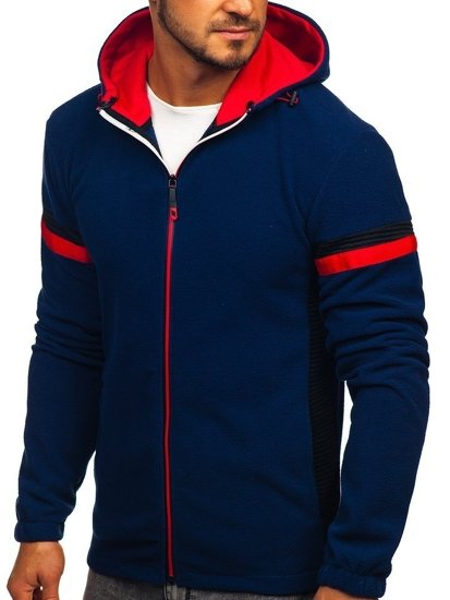 Bluza męska polar z kapturem granatowa Denley YL008