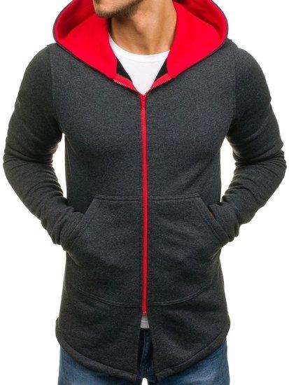 Bluza męska z kapturem antracytowo-czerwona Bolf 47S