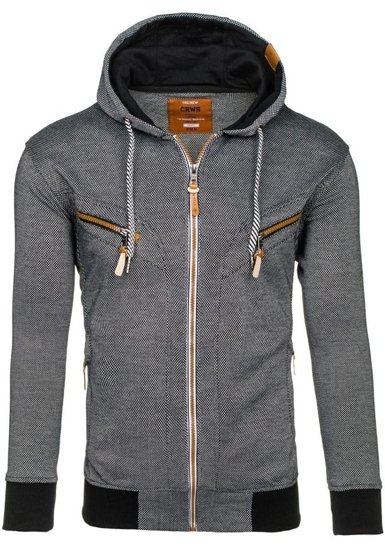 Bluza męska z kapturem czarna Denley 3611