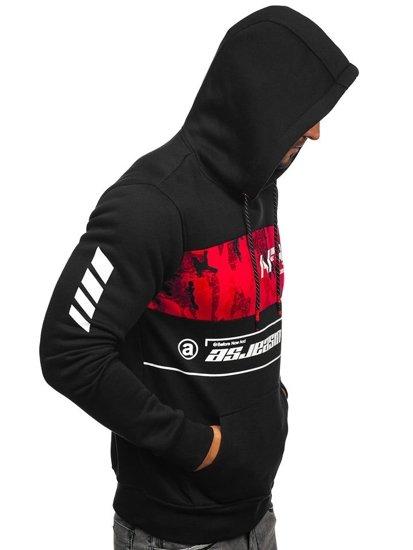 Bluza męska z kapturem czarno-czerwona Denley DD579