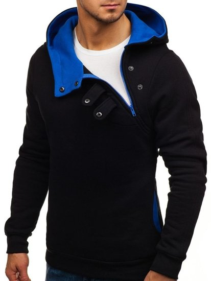Bluza męska z kapturem czarno-kobaltowa Bolf 06S