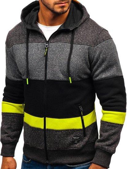 Bluza męska z kapturem czarno-seledynowa Denley 3763