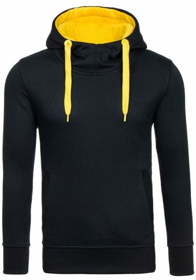 Bluza męska z kapturem czarno-żółta Denley 2072