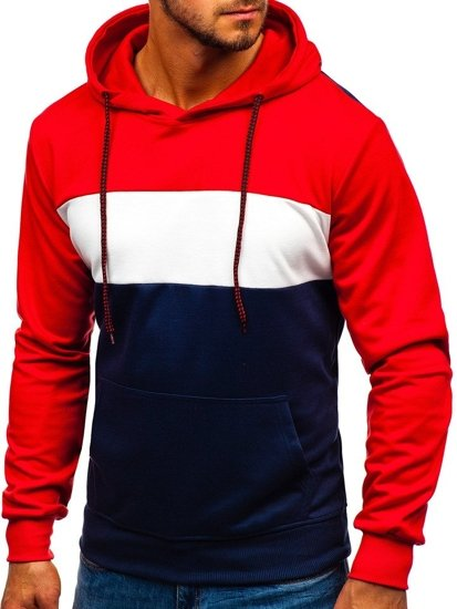 Bluza męska z kapturem czerwono-granatowa Denley 35013