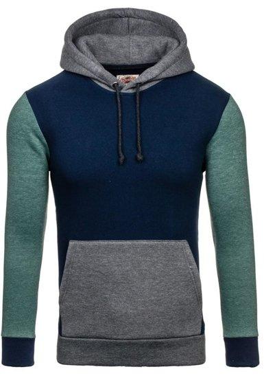 Bluza męska z kapturem granatowo-zielona Denley 9060