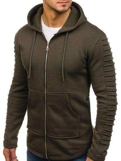 Bluza męska z kapturem khaki Denley 6010