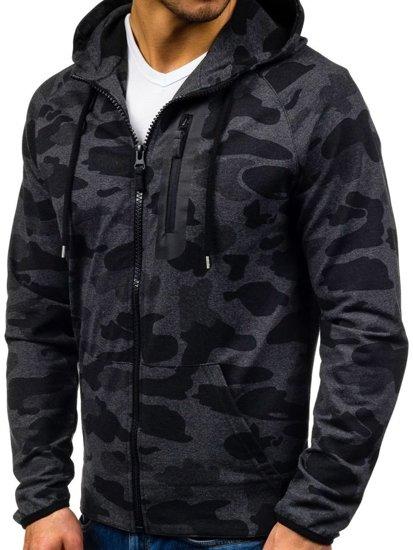 Bluza męska z kapturem moro-grafitowa Denley 0482
