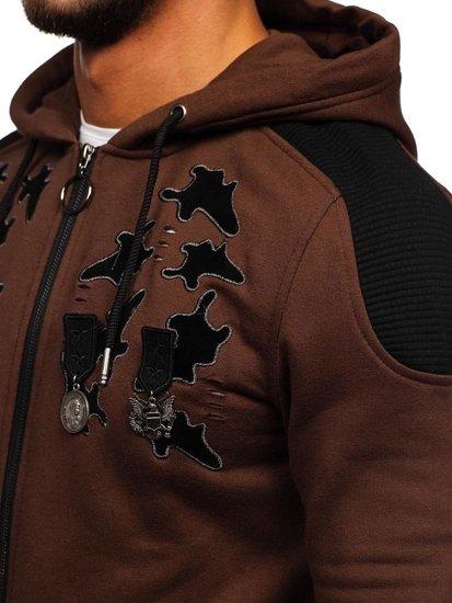 Bluza męska z kapturem rozpinana brązowa Denley GK32
