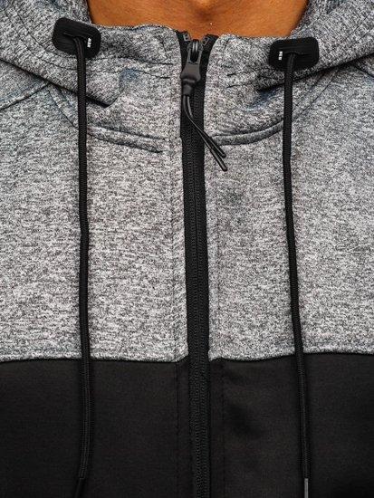 Bluza męska z kapturem rozpinana czarna Denley 88008