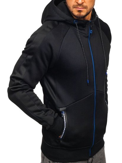Bluza męska z kapturem rozpinana czarna Denley DD733