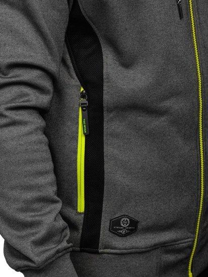 Bluza męska z kapturem rozpinana grafitowa Denley 2086