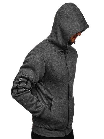 Bluza męska z kapturem rozpinana grafitowa Denley 80581