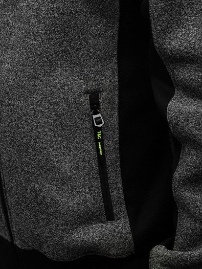 Bluza męska z kapturem rozpinana grafitowa Denley TC863