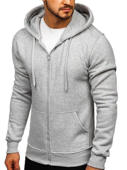 Bluza męska z kapturem rozpinana jasnoszara Denley 2008