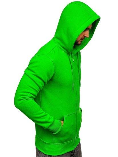 Bluza męska z kapturem rozpinana jasnozielona Denley 2008-A