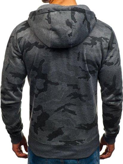 Bluza męska z kapturem rozpinana moro-grafitowa Denley DD131