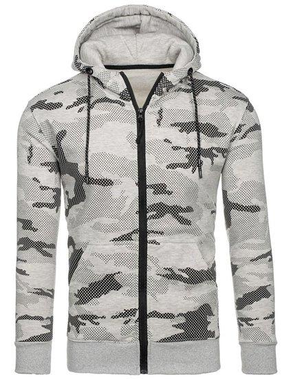 Bluza męska z kapturem rozpinana moro-szara Denley DD131