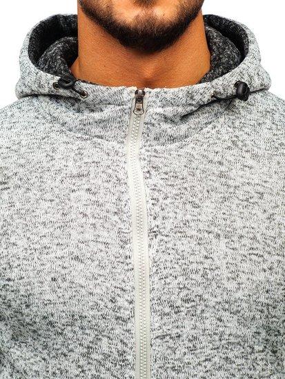 Bluza męska z kapturem rozpinana szara Denley AK28
