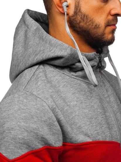 Bluza męska z kapturem rozpinana szara ze słuchawkami Denley 81053