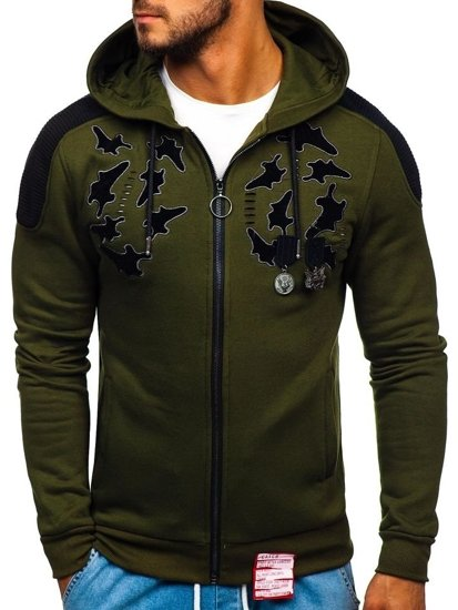 Bluza męska z kapturem rozpinana zielona Denley GK32