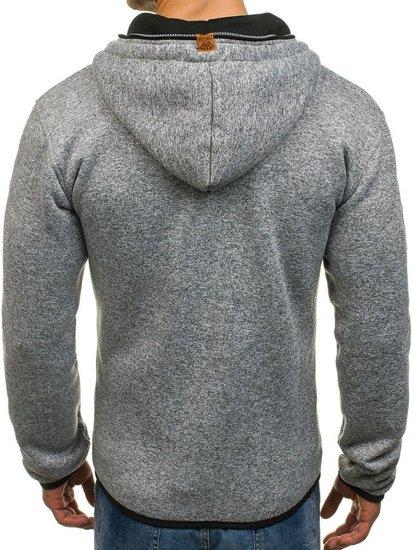 Bluza męska z kapturem szaro-czarna Denley 3562