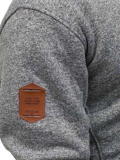 Bluza męska z kapturem szaro-czarna Denley 3563