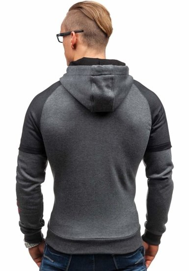 Bluza męska z kapturem z nadrukiem antracytowa Denley 1202-1
