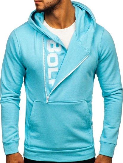 Bluza męska z kapturem z nadrukiem błękitna  Bolf 01