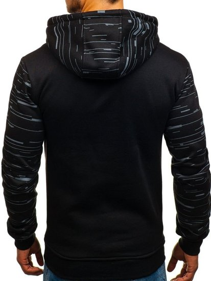 Bluza męska z kapturem z nadrukiem czarna Denley 11012