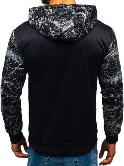 Bluza męska z kapturem z nadrukiem czarna Denley 11066