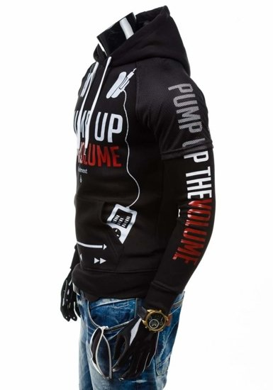 Bluza męska z kapturem z nadrukiem czarna Denley 1202-1