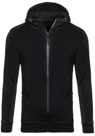 Bluza męska z kapturem z nadrukiem czarna Denley 2851
