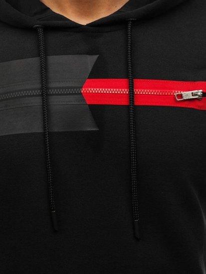 Bluza męska z kapturem z nadrukiem czarna Denley 9093