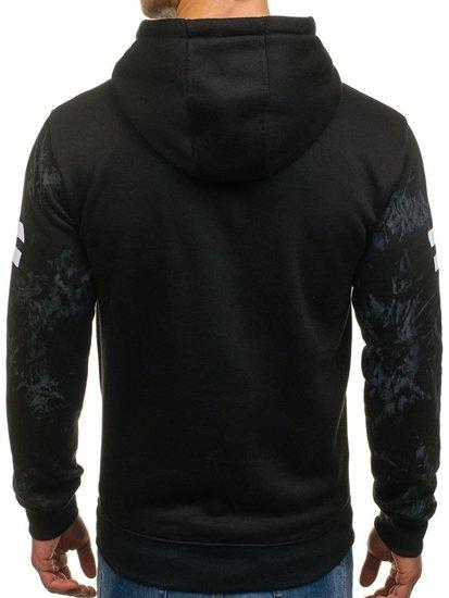 Bluza męska z kapturem z nadrukiem czarna Denley DD163