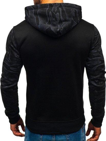 Bluza męska z kapturem z nadrukiem czarna Denley DD58