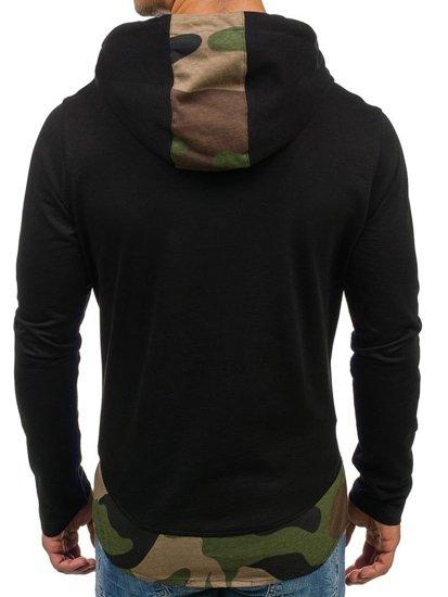 Bluza męska z kapturem z nadrukiem czarno-zielona Denley 0786