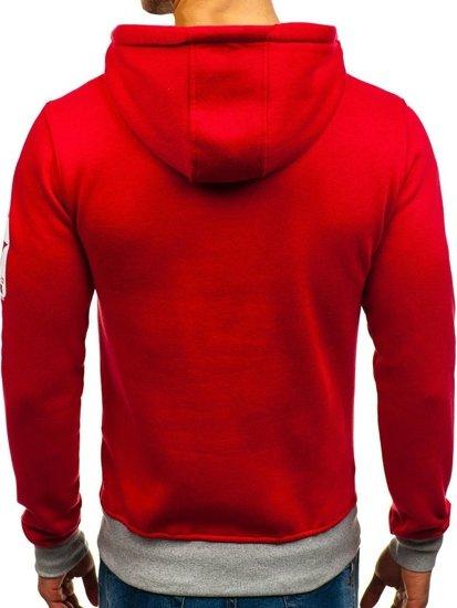 Bluza męska z kapturem z nadrukiem czerwona Denley Y-29