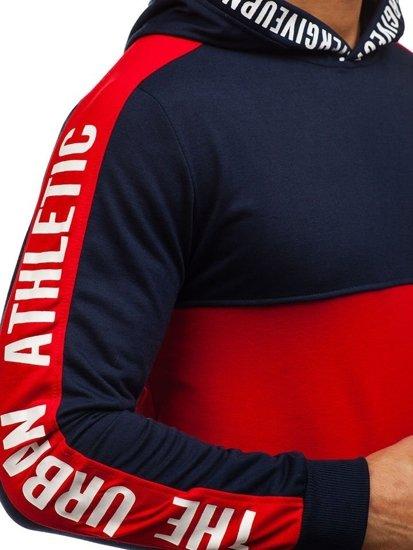Bluza męska z kapturem z nadrukiem czerwono-granatowa Denley HY202