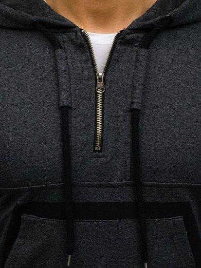 Bluza męska z kapturem z nadrukiem grafitowa Denley 0847