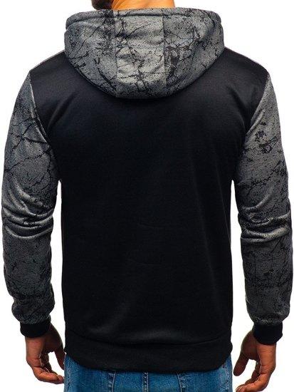 Bluza męska z kapturem z nadrukiem grafitowa Denley 11066