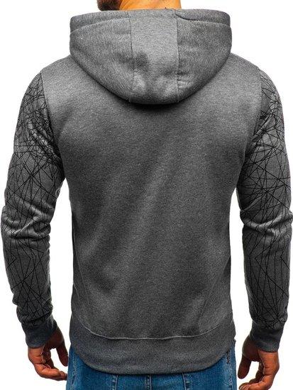 Bluza męska z kapturem z nadrukiem grafitowa Denley DD165