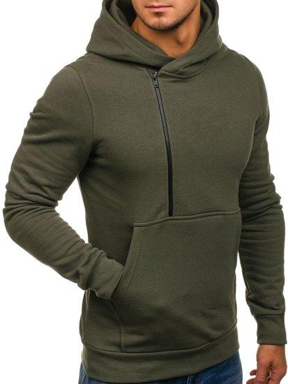 Bluza męska z kapturem z nadrukiem khaki Bolf 01S