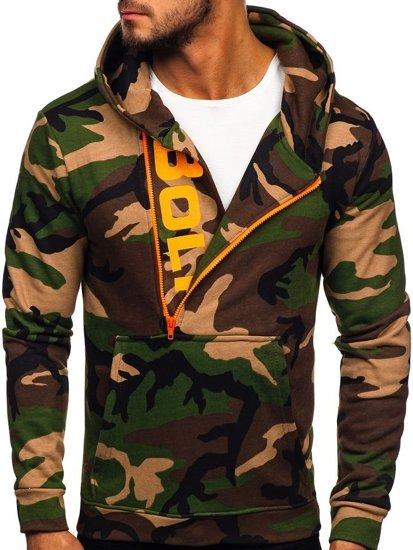 Bluza męska z kapturem z nadrukiem moro-khaki Bolf 01