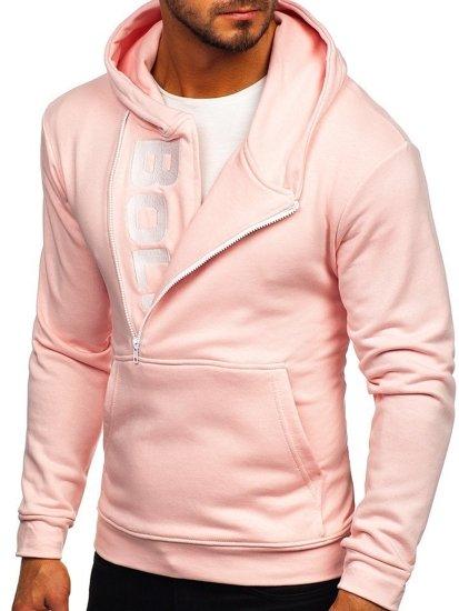 Bluza męska z kapturem z nadrukiem różowa Bolf 01